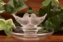 Lalique Crystal 1960's Deux Columbines Love Birds Ring Dish