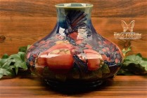 Moorcroft Pottery 1990 Finches and Fruit Blue Cobalt Squat Vase
