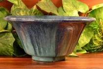 1930's Muncie Blue drip over Green Bowl 162-8