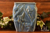Muncie Pottery 1929 Gloss Blue Katydid Vase # 194-6 Haley Design