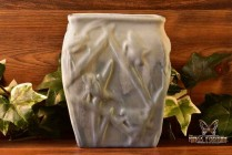 Muncie Pottery 1929 White Over Blue Katydid Vase # 194-6 Haley Design