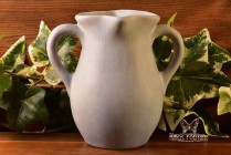 Muncie Pottery 1929 Matt White over Blue Handle Lip Vase #419-5