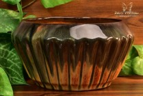 Muncie Pottery 1929 Black Peachskin Ribbed Bowl #172