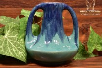 Muncie Pottery 1929 Glossy Blue Green 2 Handle Genie Vase #143-7