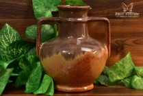 Muncie Pottery 1929 Brown Peachskin 2 Handle Jug Vase #181-7