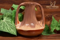Muncie Pottery 1929 Glossy Brown Peachskin 2 Handle Genie Vase #143-7