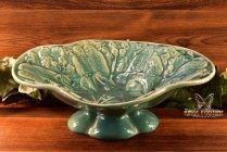 Muncie Pottery 1928 Gloss Green Lovebirds Footed Console Bowl #434-12 Haley Design