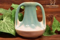 Muncie Pottery 1929 Glossy Pale Green White 2 Handle Genie Vase #143-7