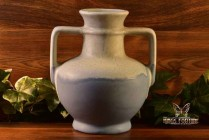 Muncie Pottery 1928 Matt White over Blue Greek Jug Handled Vase #181-7 1/2