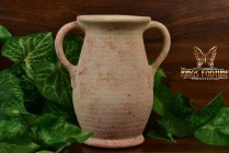 Muncie Pottery 1928 Matt White Bisque Brick Red Spots Handled Vase #427