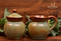 Nicodemus Pottery Mottled Green Brown Pitcher #281 and Sugar #206