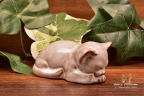 Nicodemus Pottery White Brown Cat Kitten #133