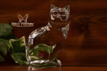 Orrefors Crystal Seated Cat Figure Paperweight