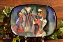 Pillin Pottery Flutist and Girl Blue Oval Plate