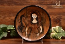 Pillin Pottery MCM Woman and Horse Brown Tray