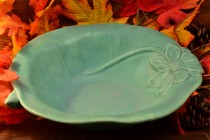 Rookwood Pottery 1943 Matte Light Green Lilypad and Flower Bowl #2875