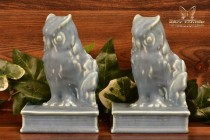Rookwood Pottery 1945 Blue Mat Owl Bookends #2655