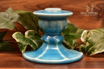 Rookwood Pottery 1949 Gloss Blue Spider Web Candle Holder #2961