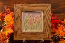 Rookwood Pottery Faience Tulip Tile in Custom Frame