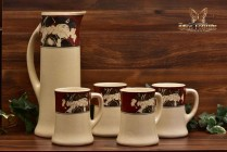 Roseville Pottery 1910-14 Quaker Men Tankard Set with 4 Mugs