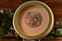 Roseville Pottery 1912 Nursery Rhyme Piper's Son Rimmed Low Bowl (RV)