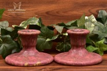 Roseville Pottery 1915 Red Carnelian II Candle Holders #1058-2 Stickers