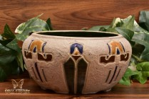 Roseville Pottery Bowl 1931 Mostique Stylized Iris Arts and Crafts Bowl #131-5
