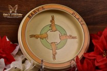 Roseville Pottery 1916 Juvenile Bunny Baby Rimmed Bowl Baby's Plate