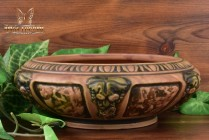 Roseville Pottery 1924 Florentine Terracotta Brown Low Tulip Bowl #126-6