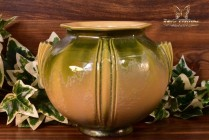 Roseville Pottery 1934 Green Yellow Crystalline Russco Art Deco Round Vase #259-6