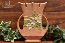Roseville Pottery 1939 Brown Cosmos Tall Handled Vase #950-8