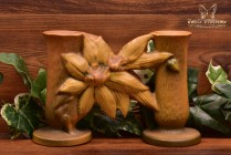Roseville Pottery 1944 Autumn Brown Clematis Double Bud Vase #194-5