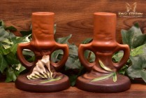 Roseville Pottery 1945 Tangerine Freesia Candle Holders #1161-4 1/2