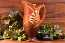 Roseville Pottery 1945 Tangerine Freesia Pitcher #20-10