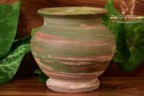 Silver Springs Pottery 1930 Green Tan Small Swirl Vase Artist Signed