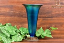 Steuben Glass 1900's Blue Aurene Iridescent Trumpet Vase with Metal Base #2909