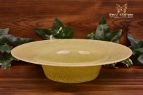 Steuben Glass 1920's Cluthra Yellow Serving Bowl Cake Plate #3059