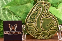 Van Briggle Pottery 1984 Gloss Green Swan Ornament 57/3000