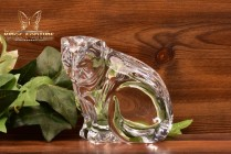 Waterford Crystal Collectible Cat Sitting Looking Down Figurine
