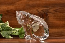 Waterford Crystal Collectible Cat Sitting Looking Down Figurine / Sculpture