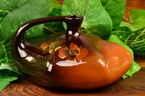 Weller Pottery 1896-1924 Louwelsa Pansy Ink Well Vase #521