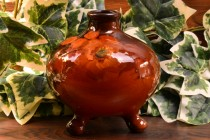 Weller Pottery 1896-1924 Louwelsa Orange Rose Tri-Foot Bowl