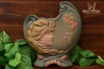 Weller Pottery 1903-04 L'art Nouveau Matt Pillow Shell Vase with Maiden