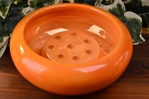 Weller Pottery 1920's Lustre Orange Bowl and Flower Frog