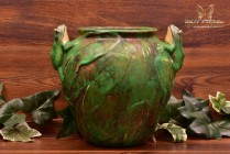 Weller Pottery 1920's Coppertone 2 Frogs on Rim Round Vase Planter 12