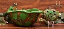 Weller Pottery 1920's Coppertone Frog Deep Bowl with Insert Set