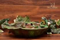 Weller Pottery 1920's Coppertone Shallow Frog Lily Pad Bowl Frog Set